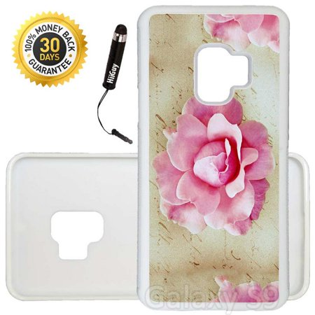 Custom Galaxy S9 Case (Pink Rose Stationery) Edge-to-Edge Rubber White Cover Ultra Slim | Lightweight | Includes Stylus Pen by