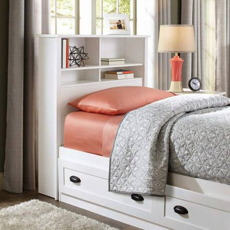 Better Homes & Gardens Lafayette Twin Bookcase Headboard, White Finish