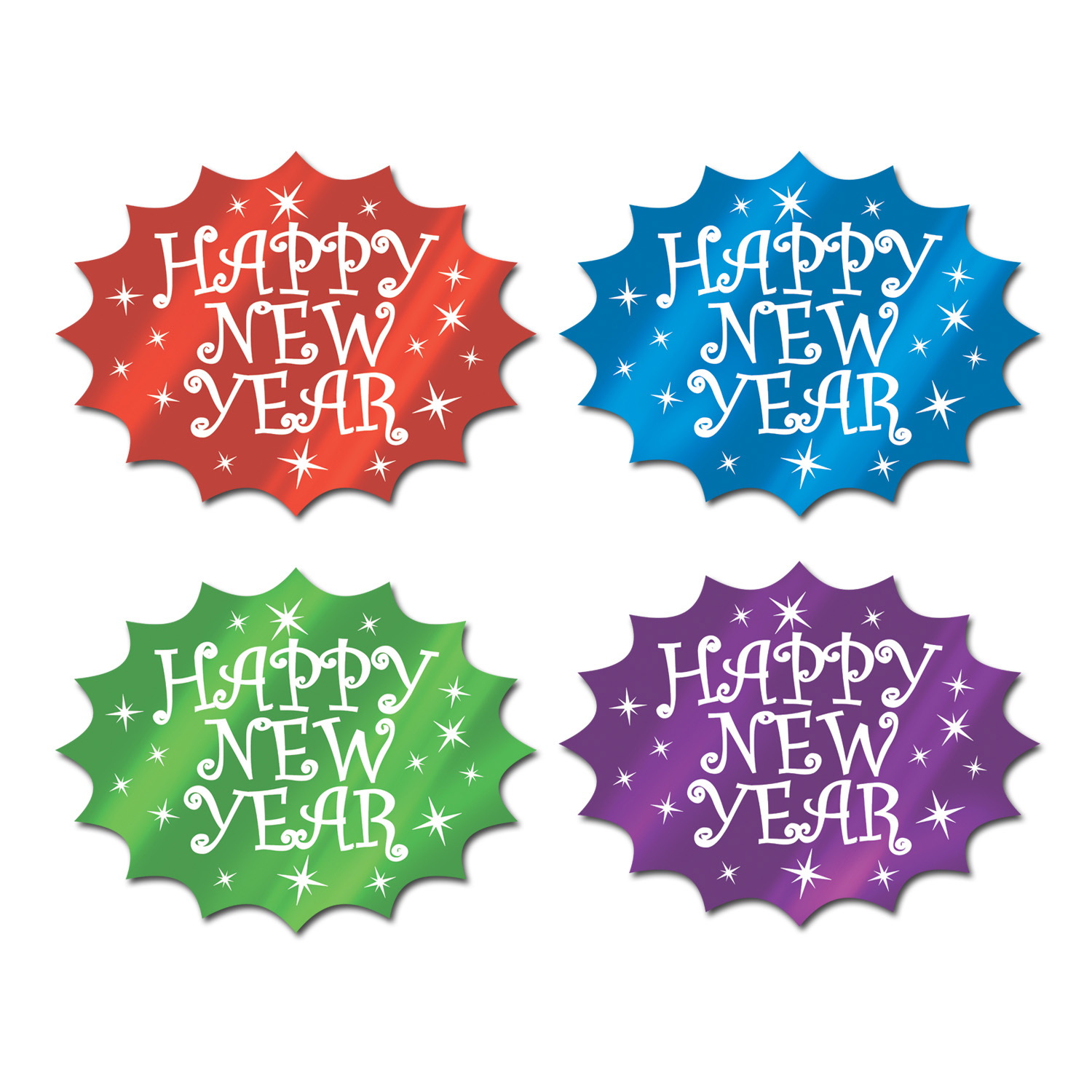 Foil Happy New Year Cutouts (Pack of 24)