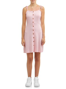 Poof Apparel Juniors' Tied Strap Button Front Dress
