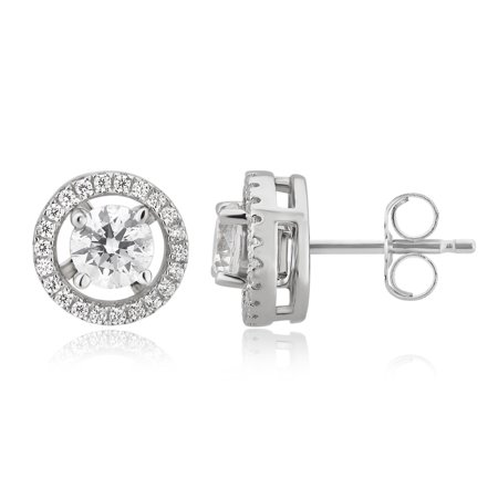 Changable Clothes (2 1/10 Carat T.W. White Cubic Zirconia Inter Changeable Sterling Silver Stud Earrings)