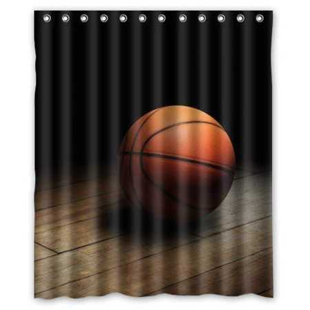 HelloDecor Sport Basketball Shower Curtain Polyester Fabric Bathroom Decorative Size 60x72 Inches