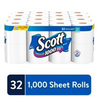 Scott 1000 Sheets Per Roll Toilet Paper, 32 Rolls (4 Packs of 8) Bath Tissue