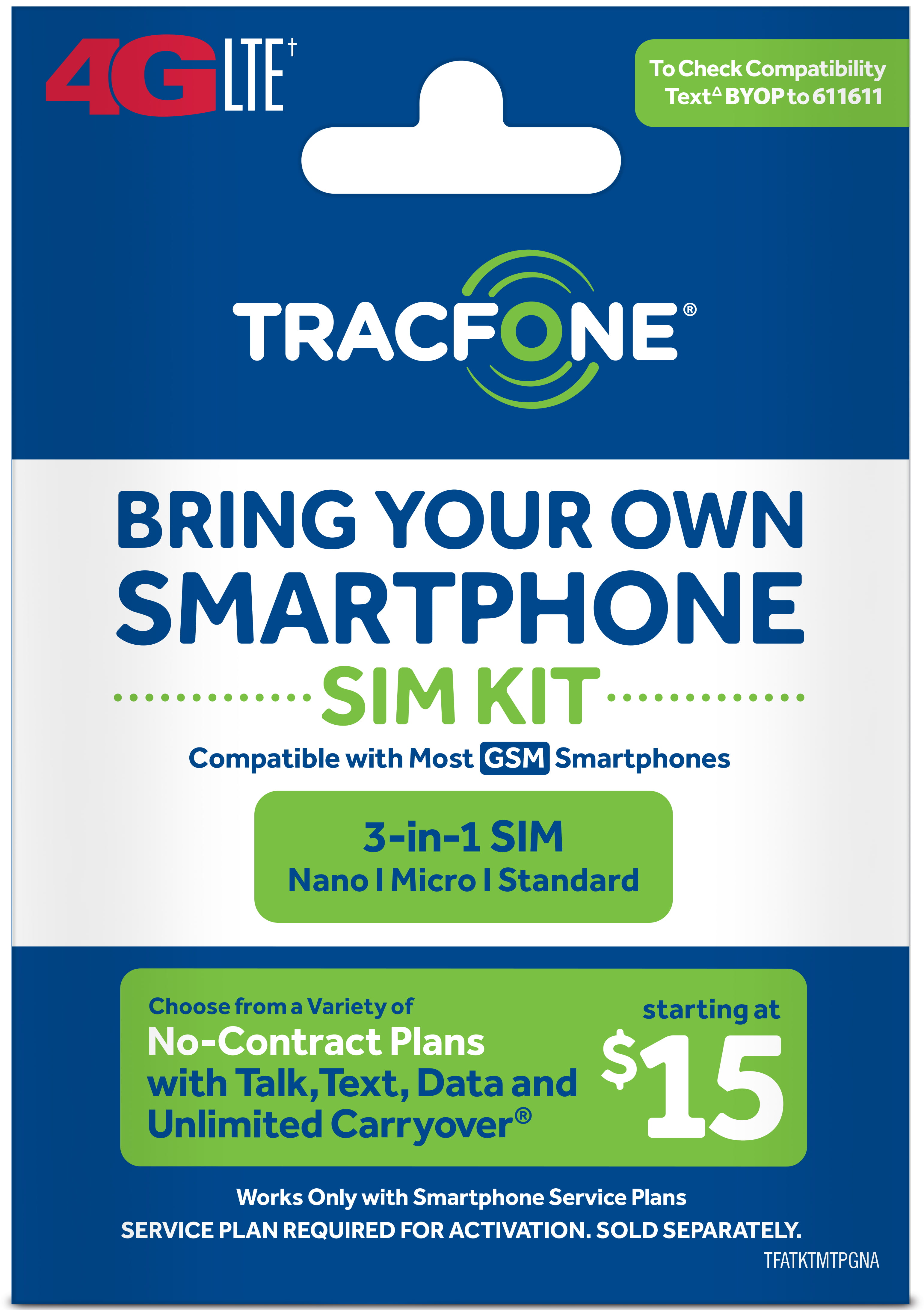 Tracfone Compatible Smartphones >> Tracfone Bring Your Own Phone Sim Kit At T Gsm Compatible Walmart Com