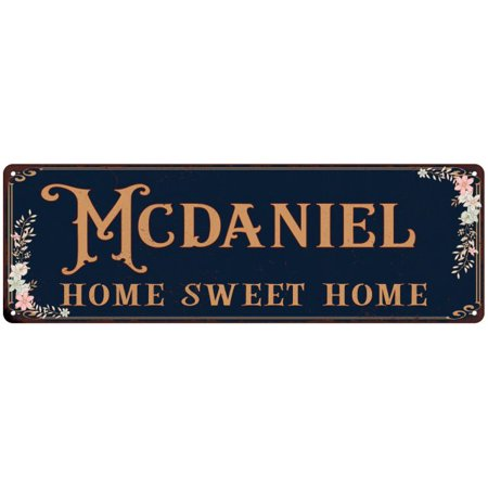 MCDANIEL Home Sweet Home Victorian Personalized 6x18 Metal Sign (Mcdaniel Metals)