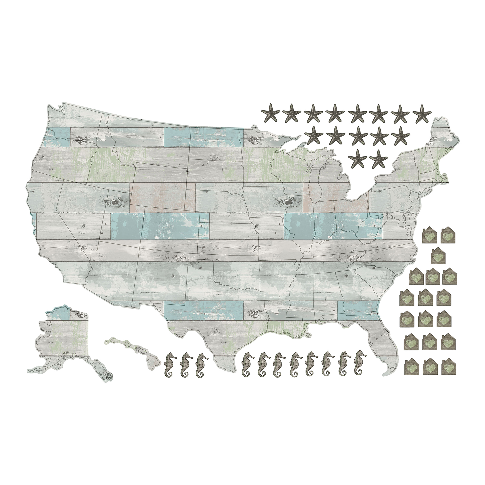 WallPops Beach Lover US Map Decal