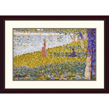 Global Gallery Women On The River Bank By Georges Seurat Framed Painting Print