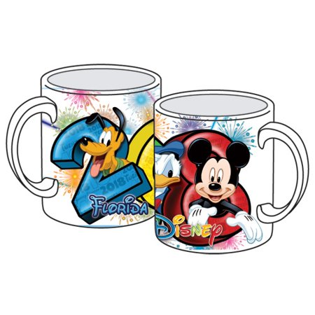 Disney 2018 Disney Group Mickey Donald Pluto 11oz Ceramic Mug, White (Florida Namedrop)