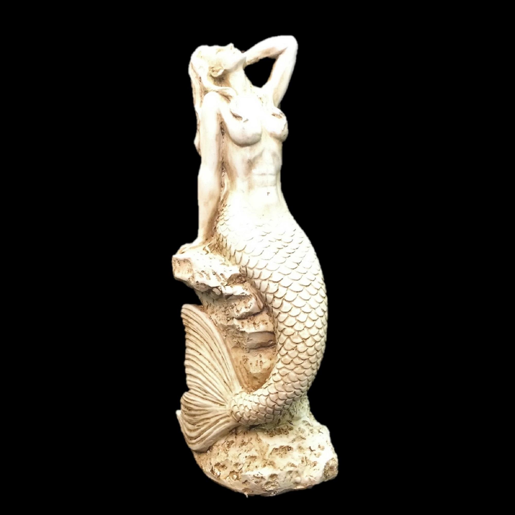 Homestyles 20 in. Antique White Sexy Mermaid Sitting on Coastal Rock Beach Nautical Statue