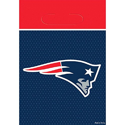 DesignWare New England Patriots NFL Plastic Loot Bags, 9 1/8 by 6 1/2