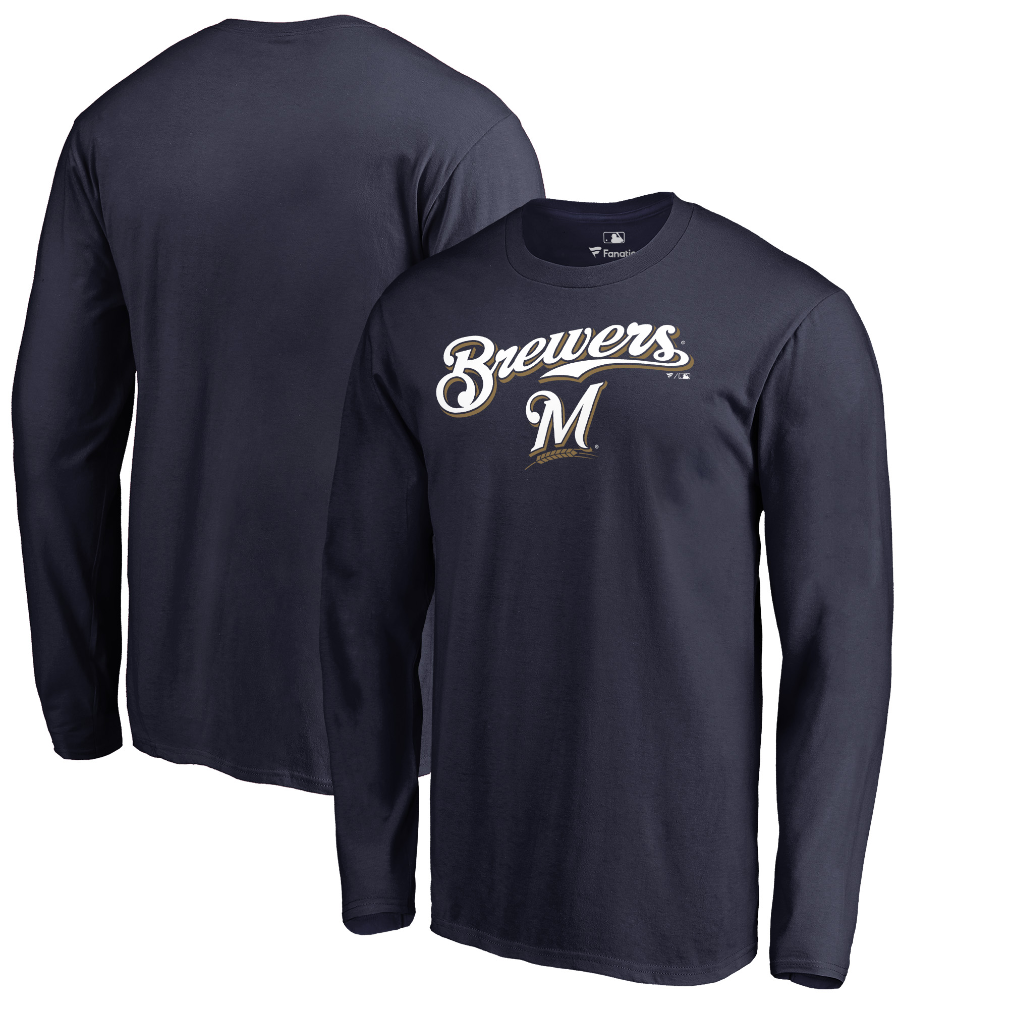 Milwaukee Brewers Fanatics Branded Team Lockup Long Sleeve T-Shirt - Navy