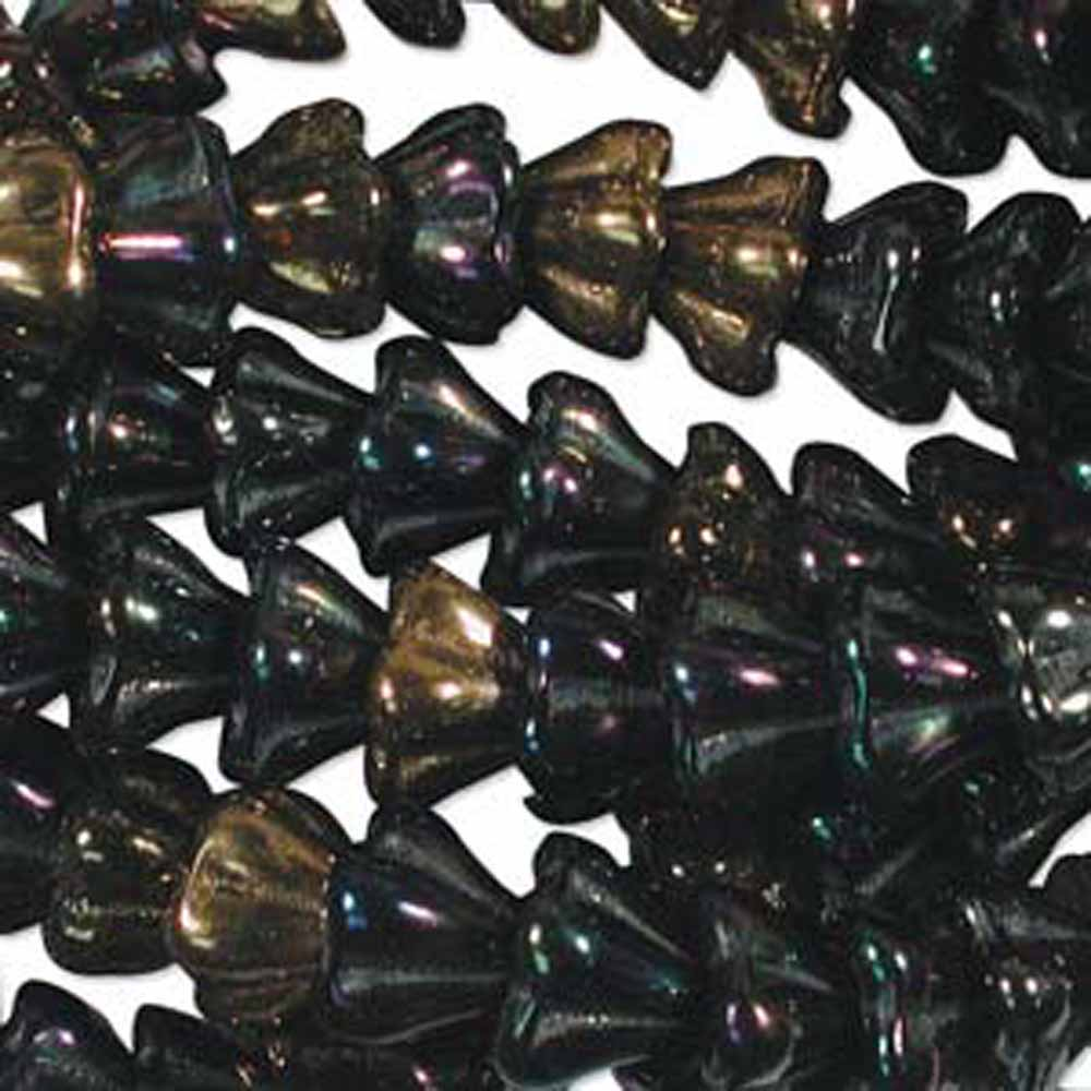 Heavy Metals Mix 6x8mm Flower Cone 45 Bead Cap Czech Glass, Loose Beads,
