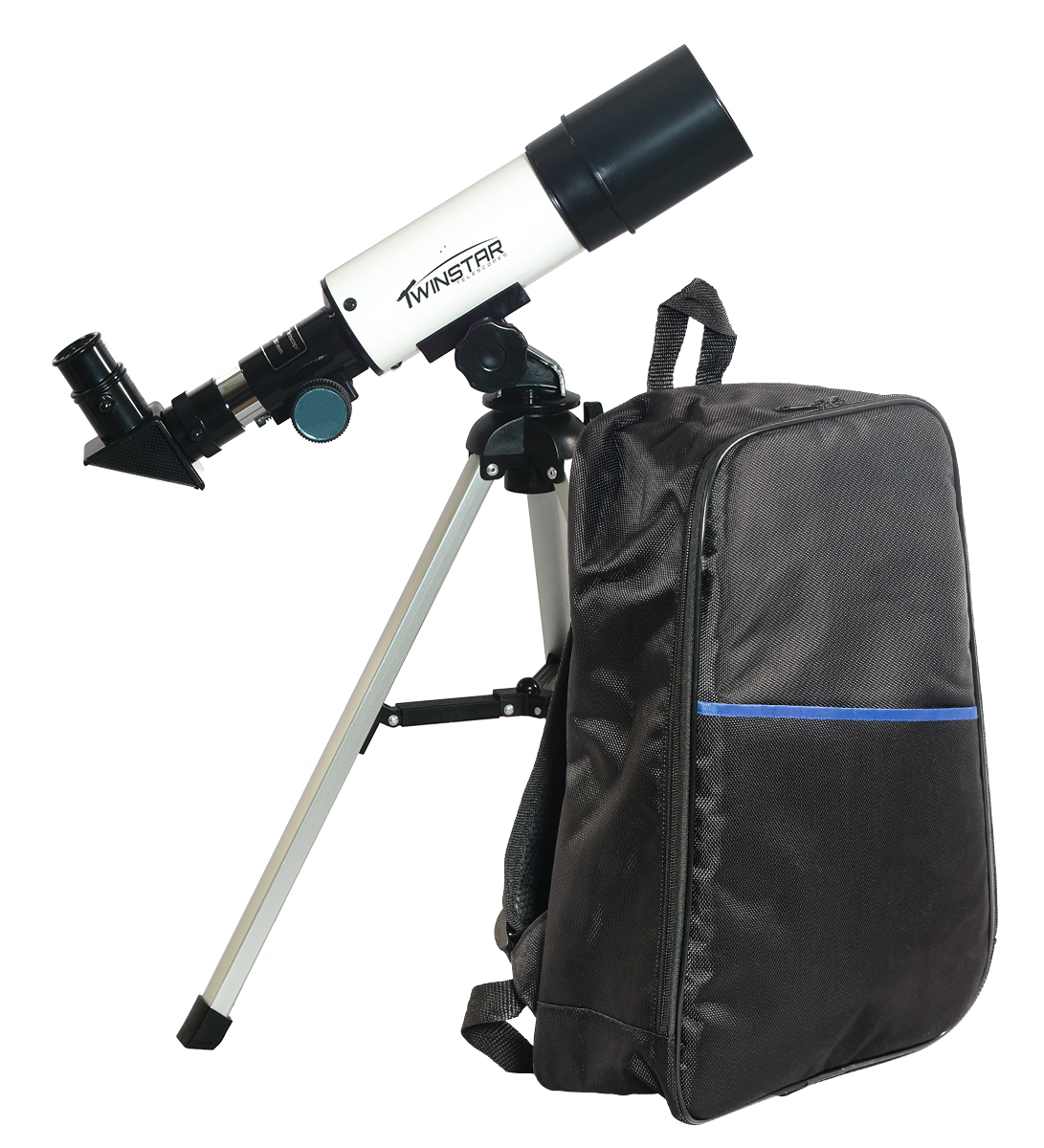 Twinstar 50mm Compact Refractor Telescope Backpack Bundle, White