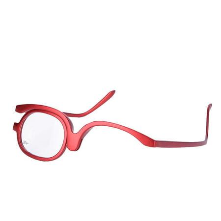WALFRONT Magnify Eye Makeup Glasses Single Lens Rotating Glasses Women Makeup Essential Tool,Rotating Glasses,Folding Cosmetic Women Reading Glasses