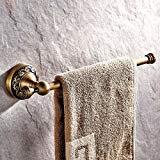- AUSWIND Antique Brass Single Towel Bar, Wall Mounted 11.8'' Copper Carved Bathroom Towel Rack