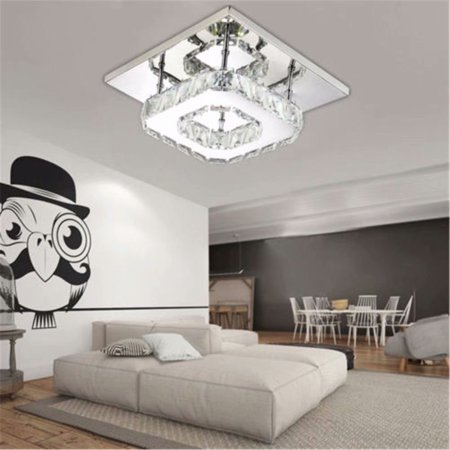 12W Crystal Ceiling Light LED Pendant Lamp Flush Mount Chandelier Square Transparent Crystal Ceiling Lamp,Warm White(Color - Costa Flush Lighting