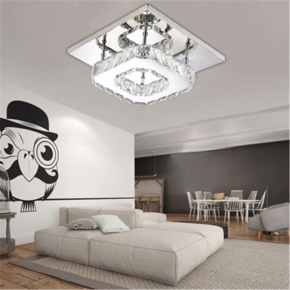 Elegant Square Crystal Chandelier Modern 12W Ceiling Light Lamp Pendant Lighting,Warm White