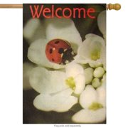 Lady Bug Spring House Flag Welcome Floral Decorative