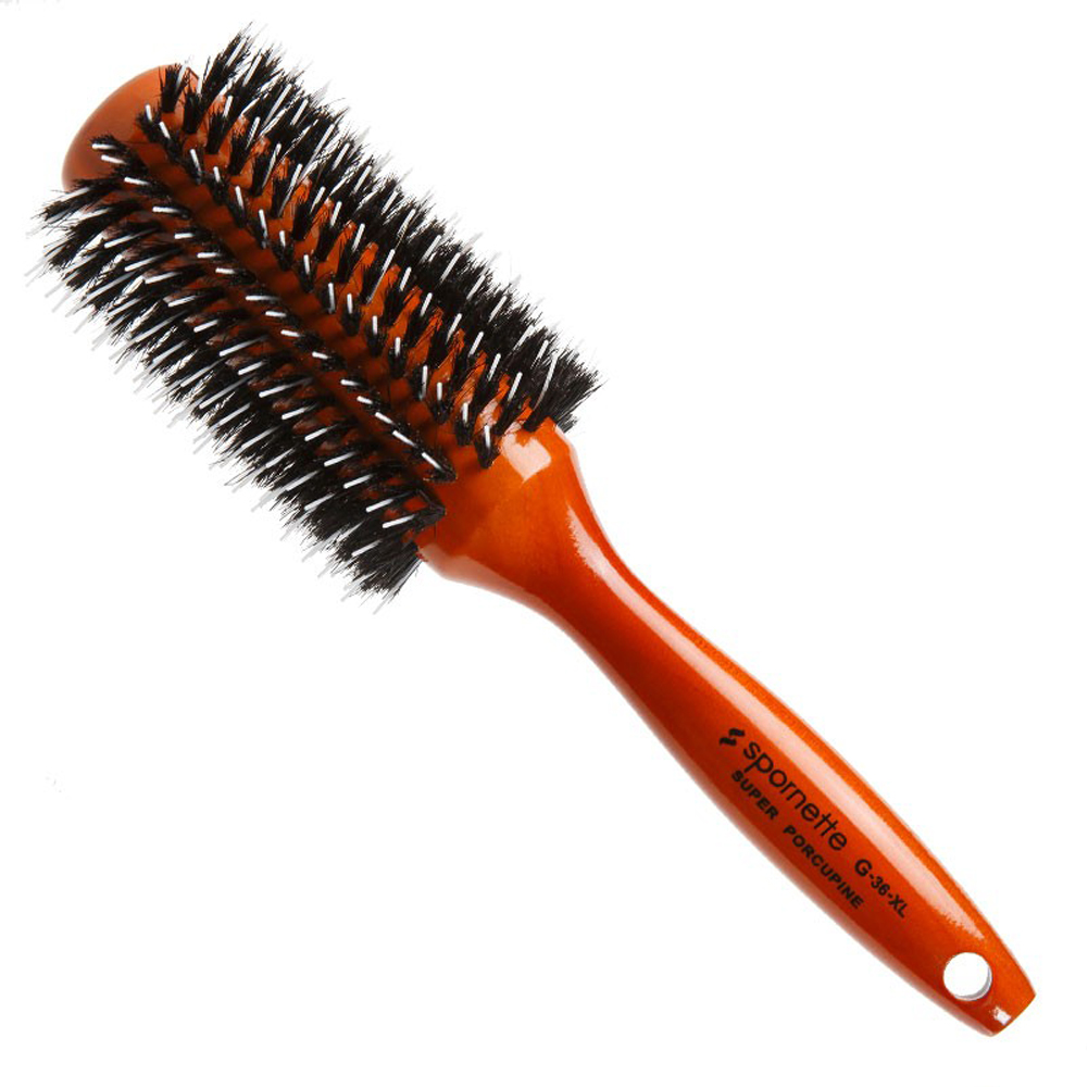 "Spornette 3"" Porcupine Boar/Nylon Bristles Rounder Hair Brush, WOOD, G-36XL"
