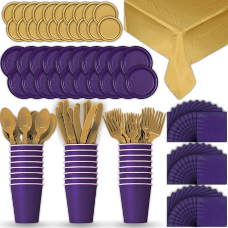 Gold Dinner Knife - Paper Tableware Set for 24 - Purple & Gold - Dinner and Dessert Plates, Cups, Napkins, Cutlery (Spoons, Forks, Knives), and Tablecloths - Full Two-Tone Party Supplies Pack
