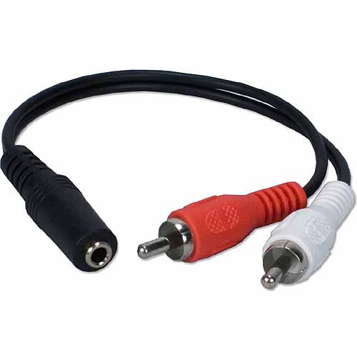 "QVS CC399FM 3.5mm Stereo Female to RCA Male 8"" Cable"