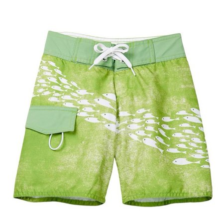 Azul Little Boys Green Sea Life Inspired School Of Fish Print Board Shorts
