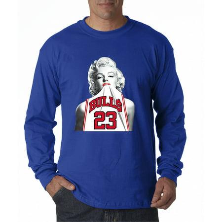193 - Unisex Long-Sleeve T-Shirt Marilyn Monroe Bulls 23 Jordan (New Jordans Mens)