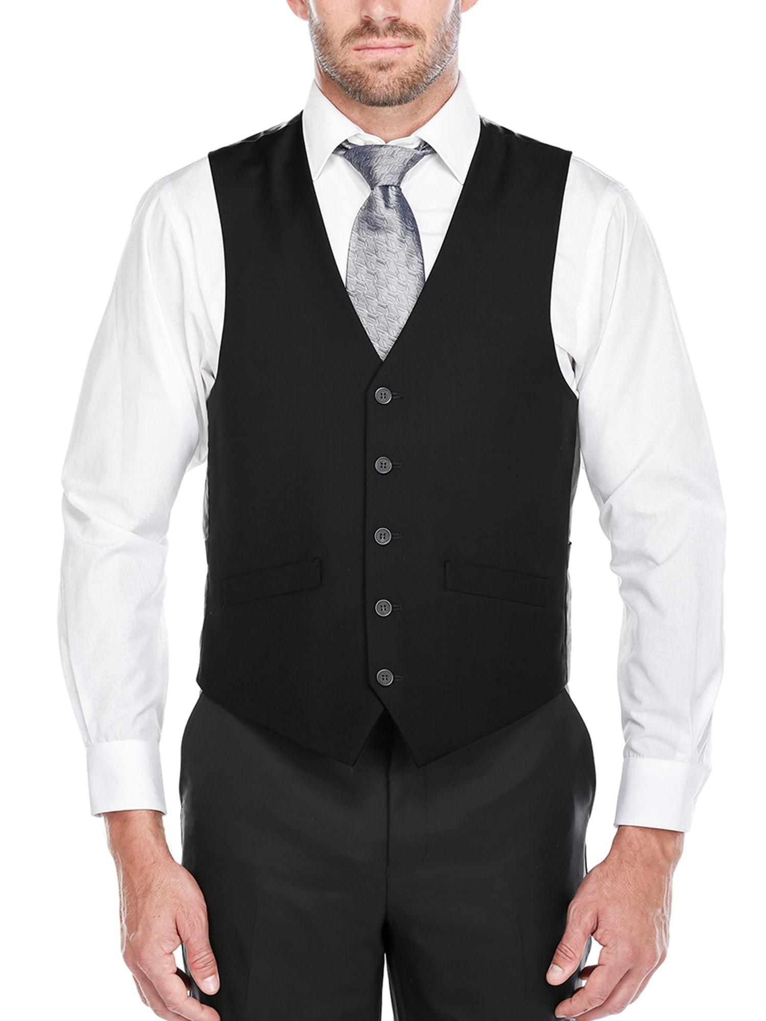 Big Men's Black Five Button Classic Fit Vest