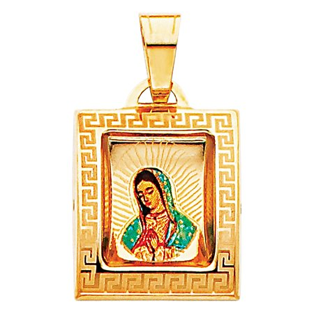 - FB Jewels 14K Yellow Gold Virgen De Our Lady of Guadalupe Virgin Mary Picture Pendant 18mm X 15mm