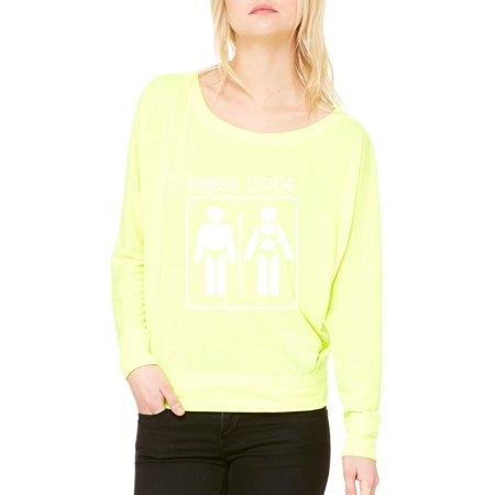 6120acf7129e Novelty T-Shirt Humor Dress Code Artix Women s Flowy Long Sleeve Off  Shoulder Tee Clothes