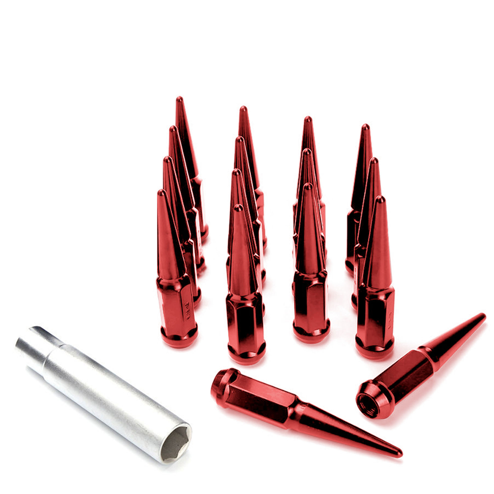 """16pc Premium Chrome SPIKED 14x2 Extended Lug Nuts 4.4"""" OFF-ROAD SPIKE Metal Lugz Nut w/Key"""
