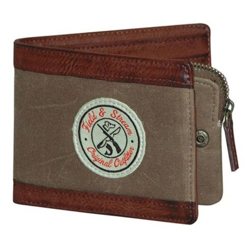 Field & Stream Huntington Pocket Billfold Bifold Wallet Canvas with Faux Leather - Tan