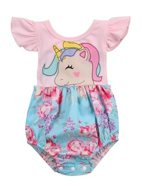 2e00945cea9 Product Image StylesILove Newborn Baby Girl Backless Unicorn Floral Printed  Ruffle Sleeve Sunsuit Romper Outfit (60