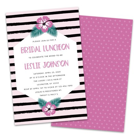 Personalized Purple & Black Floral Painted Stripe Bridal Luncheon Invitations](Black And White Wedding Invitations)