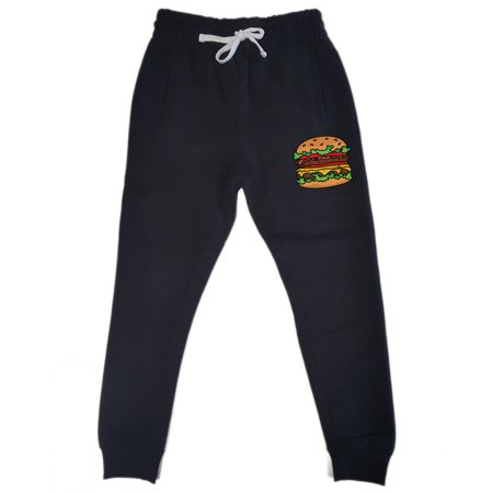 Men's Dripping Burger KT T135 Black Fleece Gym Jogger Sweatpants X-Large Black