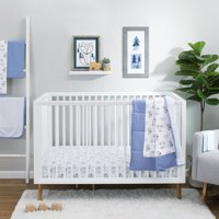 Little Star Organic Pure Organic Cotton Crib Bedding Set, 3 Pc, Blue-Wild at Heart