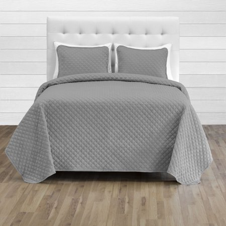 7 Piece Queen Coverlet Set + Microfiber Sheet Set - Diamond Stitched Lightweight Bedspread - Ultra-Soft Microfiber Sheet Set (Coverlet Set: Light Gray, Sheet Set: Dark