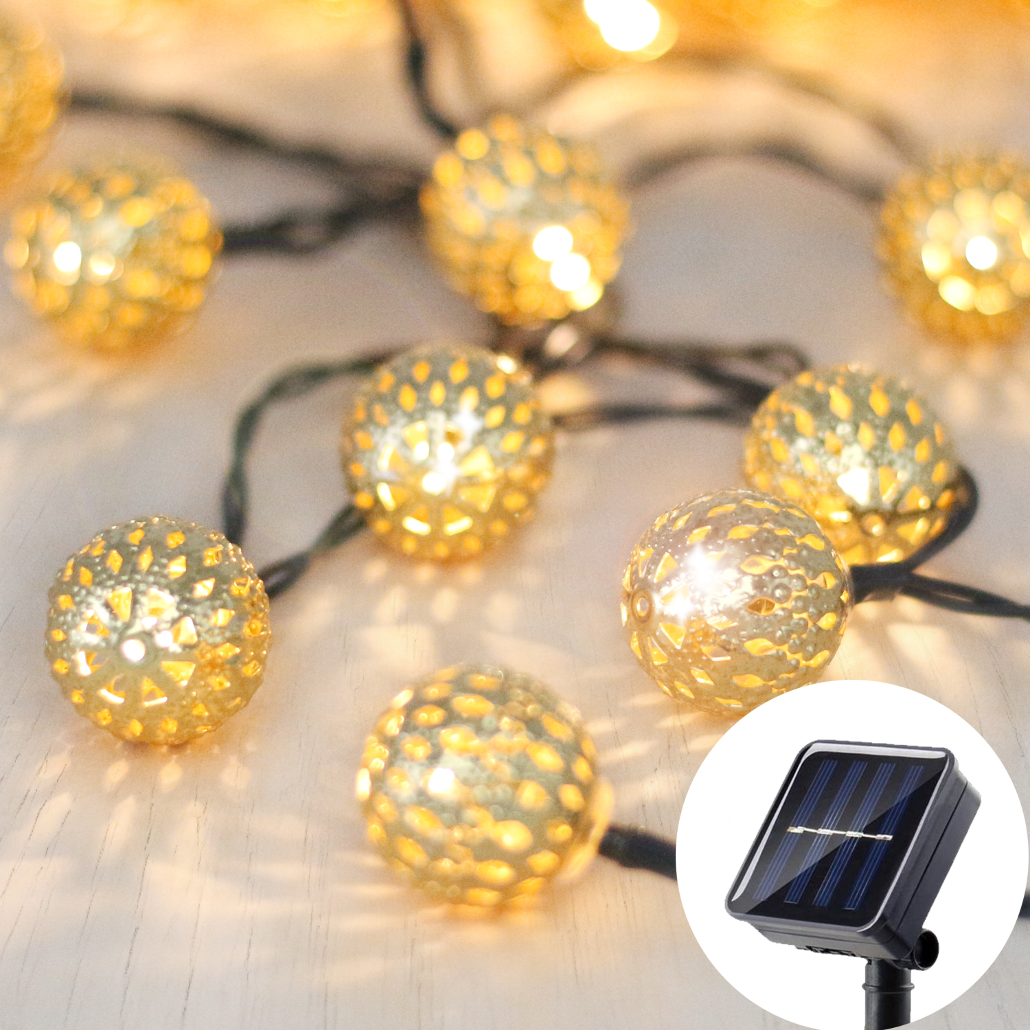 Solar Outdoor String Lights, Betus Moroccan globe Waterproof LED Fairy String Light - Decorations for Garden, Porch, Home, Christmas, Wedding & Party – 30 LEDs, 15 Feet, Warm White