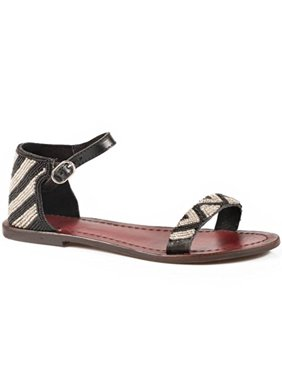 c70511bec30 Product Image Roper Sandals Ladies Black Leather Chevron Beaded Ankle Strap  Shoes 5