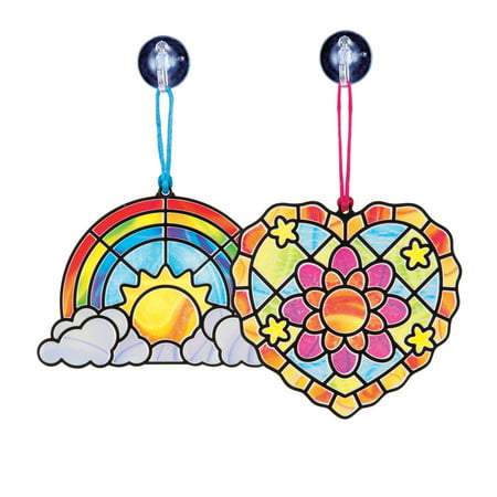 Melissa & Doug Stained Glass Made Easy Activity Kit: Heart and Rainbow - 80+ Stickers (Kids Crafts Stained Glass)
