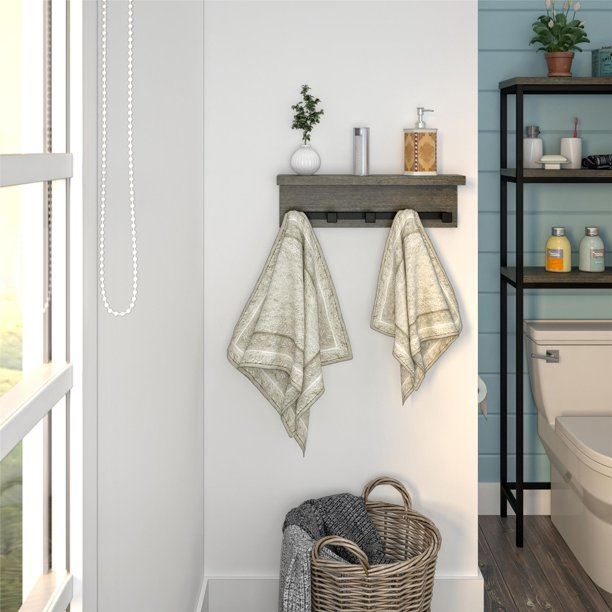 SystemBuild Arris Wall Shelf with Hooks, Weathered Oak