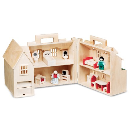 Melissa Doug Fold Go Wooden Dollhouse With 2 Play Figures And 11 Pieces Of Furniture