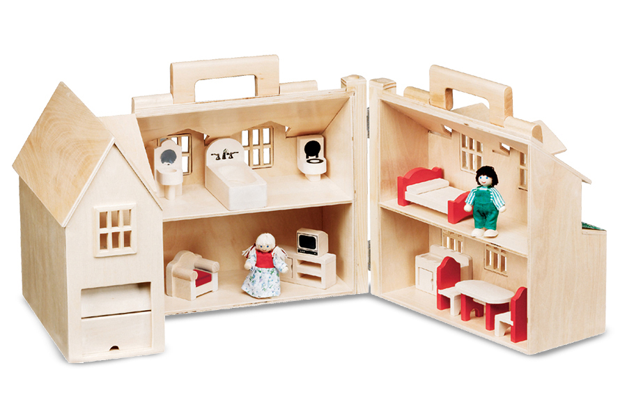 Superb Melissa U0026 Doug Fold U0026 Go Wooden Dollhouse With 2 Play Figures And 11 Pieces  Of