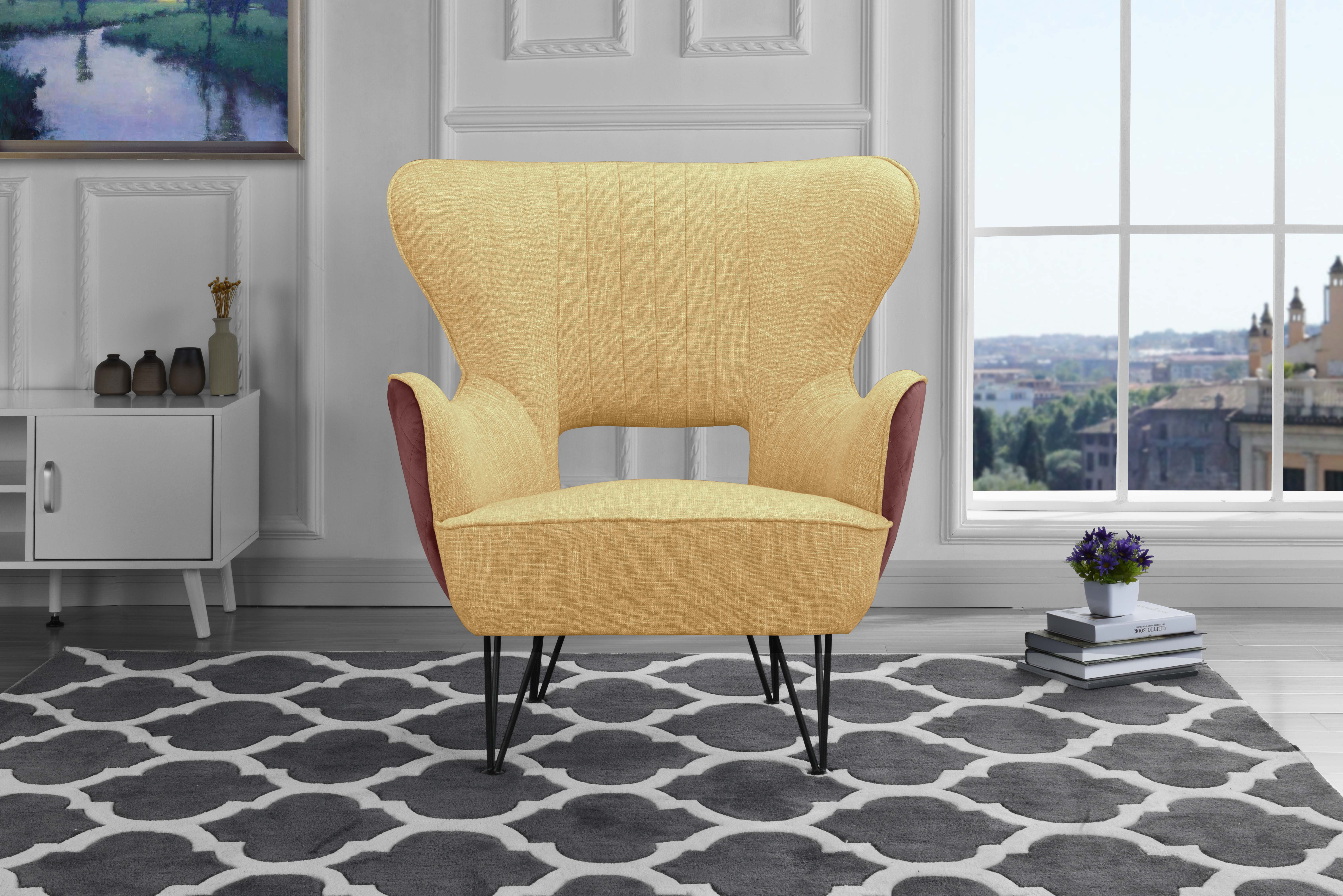 Mid Century 2 Tone Shelter Style Accent Chair Linen Fabric