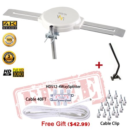 LAVA HD-8008 OMNIPRO OMNI-DIRECTIONA FIVE STAR 200 MILES OUTDOOR 4K ANTENNA Plus Kit & 20 Inch J-Pole - Omni Antenna Kit