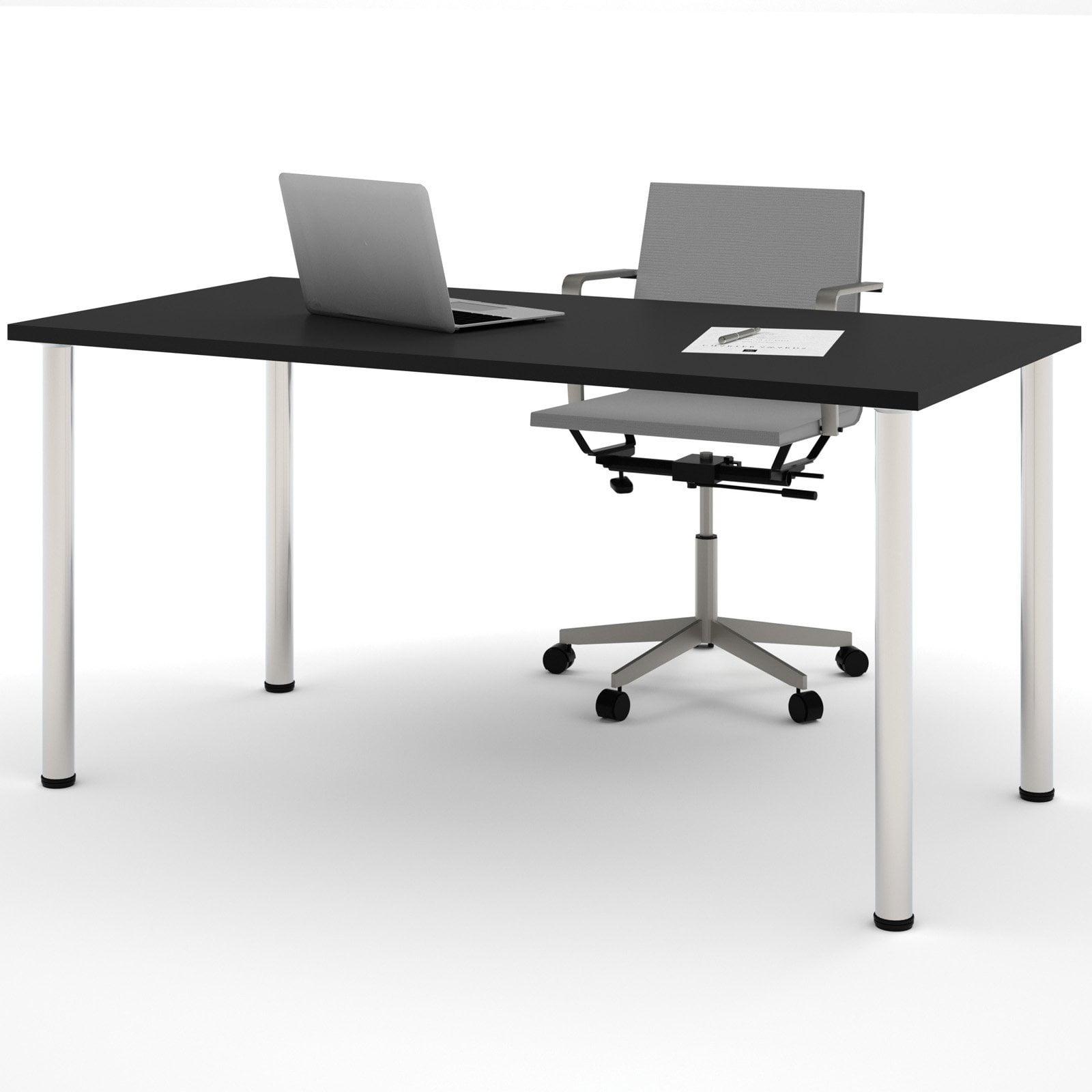"Bestar 30"" x 60"" Table with round metal legs in Black by Bestar"
