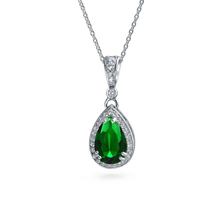 Shape Green Jade Necklace (Green Solitaire Teardrop Pear Shape Pendant Necklace Simulated Emerald CZ Halo Rhodium Plated Sterling Silver 16)