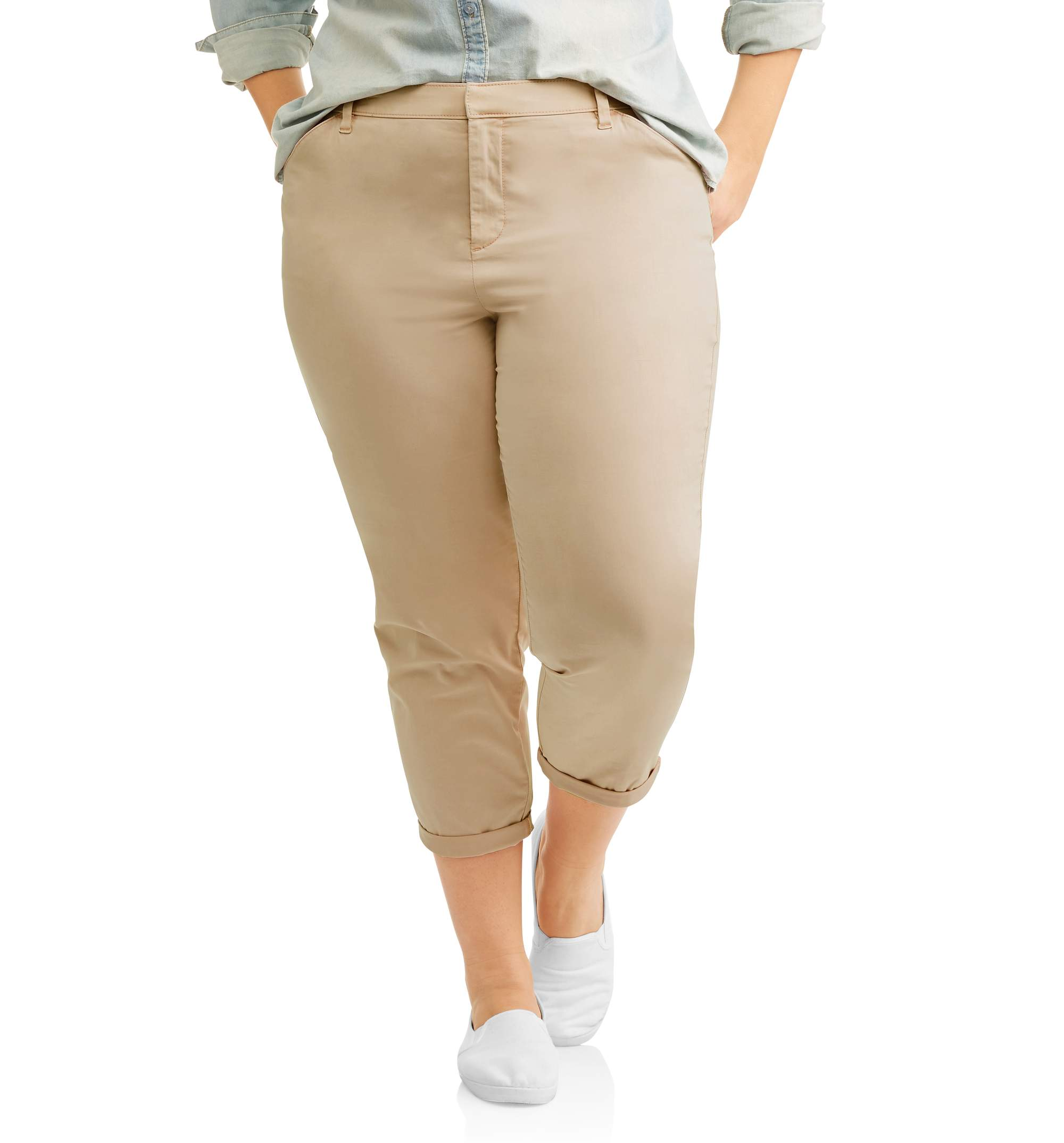 Terra & Sky Women's Plus Brushed Satin Cropped Chino Pants by Generic