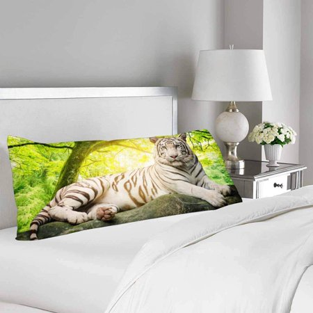 GCKG White Tiger Tree Jungle Forest Pillow Covers Pillowcase 20x60 inches, Body Pillow Case Protector - image 1 de 2