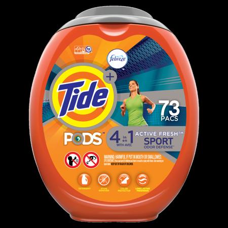 Tide PODS Plus Febreze, Sport Odor Defense Liquid Laundry Detergent Pacs, Active Fresh Scent, 73 count (Packaging May